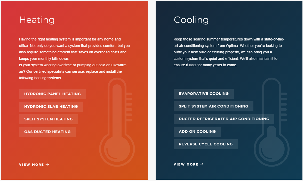 Optima review heating and cooling, side by side options
