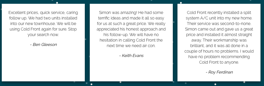 customer testimonials for the cold front review