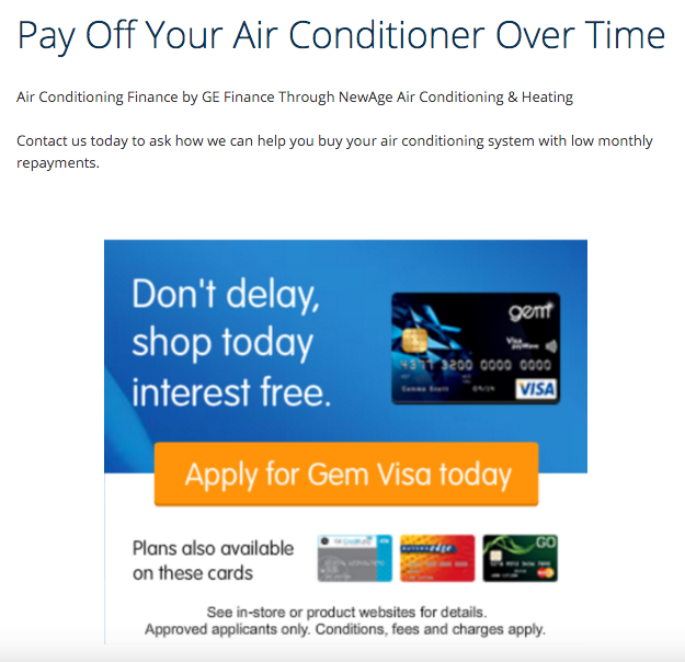 NewAge Air Conditioning Review finance offer