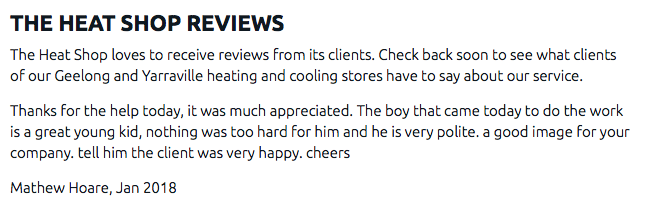 Air conditioning installation Geelong customer testimonials
