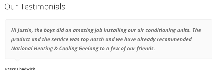 Air conditioning installation Geelong customer testimonials for the National Heating and Cooling Review