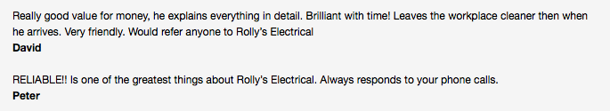 Air conditioning installation Townsville review customer testimonials for Rolly's Electrical