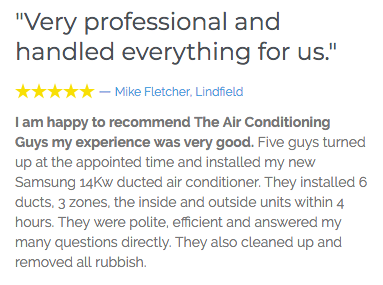 Air Conditioning Guys Review customer testimonial