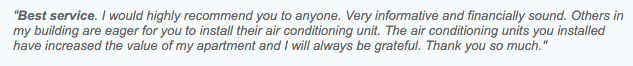 Air Conditioning Warehouse Review customer testimonial