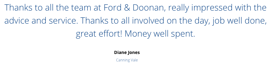 Ford and Doonan review customer testimonial