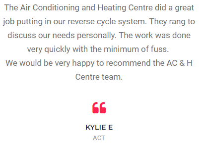 Our air conditioning installation Canberra overall customer service rating