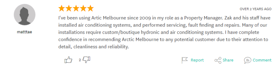customer testimonial Arctic Melbourne Review