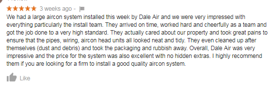 customer testimonial Dale Air Review