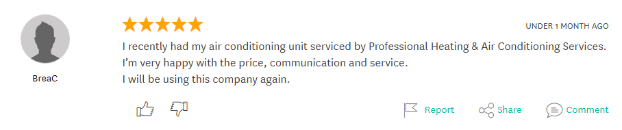 Professional Heating and Air Conditioning Review customer testimonial 2