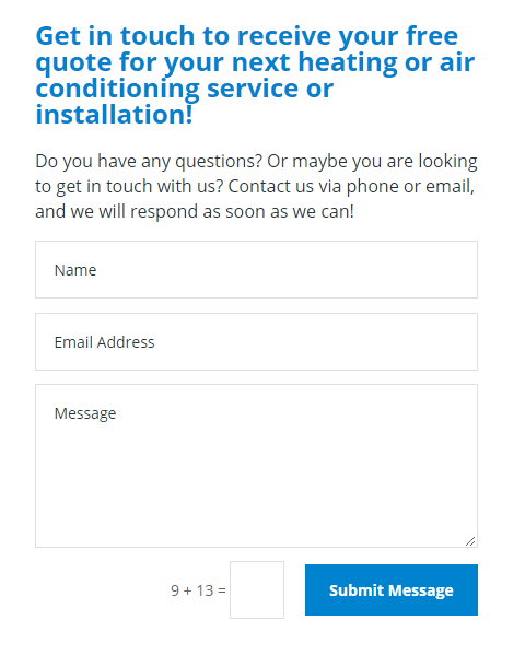 Professional Heating and Air Conditioning Review online form 2