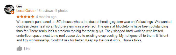 Middleton's Heating and Cooling Review customer testimonial