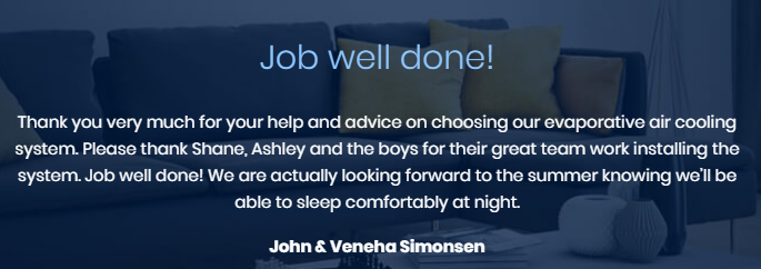 North West Airconditioning Review customer testimonial number 1
