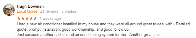 North West Airconditioning Review customer testimonial 2