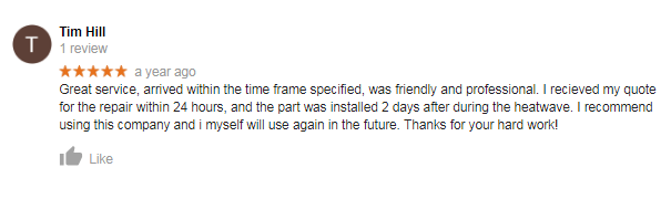 Ace Airconditioning Adelaide Review customer testimonial