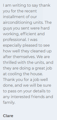 Apex Airconditioning Review customer testimonial 1