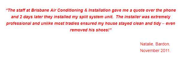 Brisbane Air Conditioning and Installation Review Customer Testimonials 1