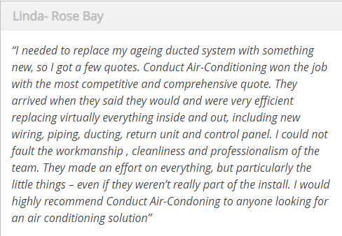 Conduct Air Conditioning Review customer testimonial 1