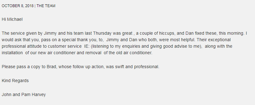 H&H Air Conditioning Review Customer Testimonials 1
