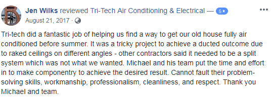 Tri-Tech Air Conditioning & Electrical Review Customer Testimonials 2