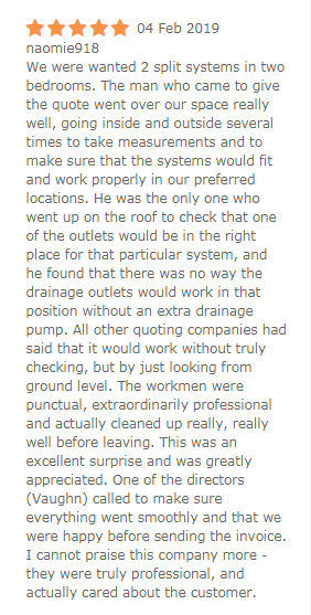Crown Power Air Conditioning Review Customer Testimonials 1