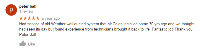 McCaig Air Conditioning Review Customer Testimonial 1
