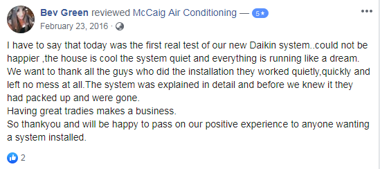McCaig Air Conditioning Review Customer Testimonials 2