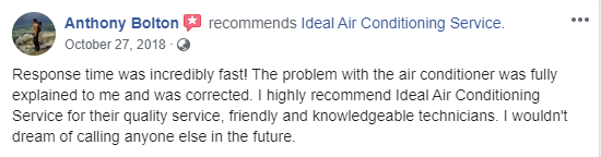 Ideal Air Conditioning review overall customer feedback rating